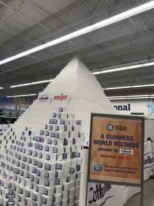 A Guinness World Records attempt at the tallest toilet paper pyramid